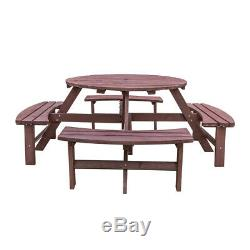 Heavy Duty 8 Seater Wooden Pub Bench Round Picnic Beer Table Garden Patio Bench