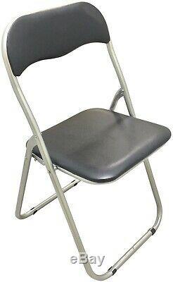 Heavy Duty Black 6ft Folding Table + 8 Black Padded Folding Chairs
