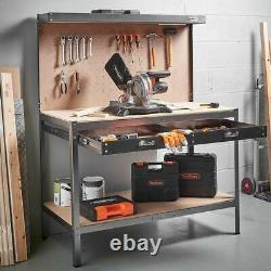 Heavy Duty DIY Metal Garage Workbench Pegboard Sturdy Steel Storage Drawer Table