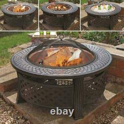 Heavy Duty Fire Pit Large Outdoor Firepit Garden Heater Round Table with BBQ Grill