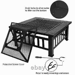 Heavy Duty Fire Pit Large Outdoor Firepit Garden Heater Square Table withBBQ Grill