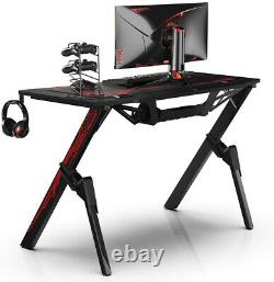 Heavy Duty Gaming Desk Home Office PC Computer Table +Cup/Cable Holder Black Red