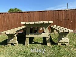 Heavy Duty Garden 6 Seater Table And Two Benches