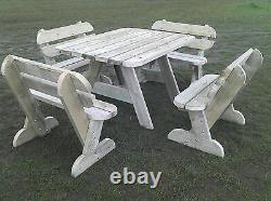 Heavy Duty Garden Table & Bench Set Seats up to 8 NO Self Assembly required