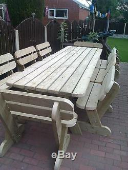 Heavy Duty Garden Table and Bench Set Massive 3.6m NO Self Assembly required