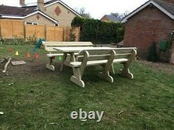 Heavy Duty Giant Garden Table and Twin Bench Set NO Self Assembly required