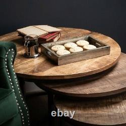 Heavy Duty Handcrafted Round Set Nest Of 3 Industrial Wood Coffee Side Tables