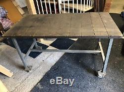 Heavy Duty Industrial Work Bench Table Wood Steel Metal DIY Mechanic Tools
