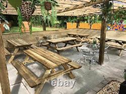 Heavy Duty Picnic tables, Wooden Garden bench, Outdoor, Garden table, Heavy duty