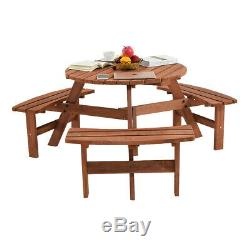 Heavy Duty Pub Quality Wooden Round 6 Seater Picnic Table Wooden Bench Seats