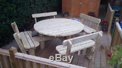 Heavy Duty Round Garden Picnic Table/Bench (1.6m) with Back Rests Fully Treated