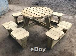 Heavy Duty Round Garden Picnic Table / Pub Bench Seats 8 NO Self Assembly