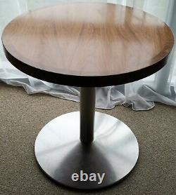 Heavy Duty Round Table Metal Base Solid Wood & 2 Habitat Teal Blue Accent Chairs