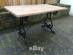 Heavy Duty Rustic Wooden Top Table with Vintage Cast Iron Ornate Base Ive Qty