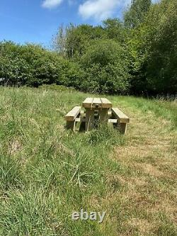 Heavy Duty Sanded Sleeper Picnic Table Bier Keller Style With Seating