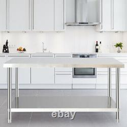 Heavy Duty Stainless Steel Kitchen Catering Table Work Bench Prep Table 2 Tier