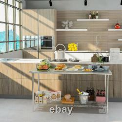 Heavy Duty Stainless Steel Kitchen Table Prep Work Bench Commercial Catering Use
