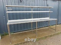 Heavy Duty Stainless Steel Work Table With 2 Tier Shelving 2900mm Wide