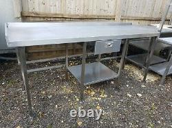 Heavy Duty Stainless Steel Work Table With Drawer 2150mm Wide