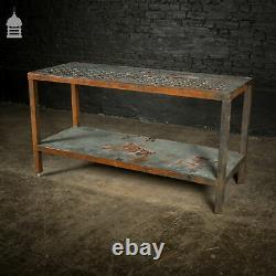 Heavy Duty Vintage Industrial Steel Workshop Bench Table