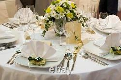 Heavy Duty White Plain Polyester Banquet Table Cloth for Wedding (90x90)