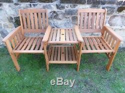 Heavy Duty Wooden Garden Love Seat Bench With Parasol Hole and Table 2 Colours