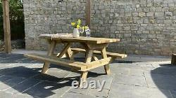 Heavy Duty Wooden Picnic Table Bench Fast Dispatch 4-6 Seater