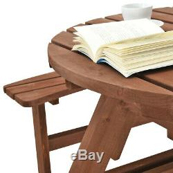 Heavy Duty Wooden Round Table with Bench 8 Seater Patio Picnic Table Sets Garden