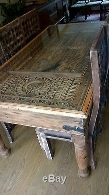 Heavy Duty Wooden Unique Hand Carved Table and 6 Solid wooden chairs