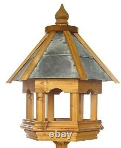 Heavy Duty Wooden Wharfedale Wild Bird Table by Tom Chambers Slate Roofed Table