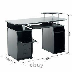 Heavy Duty Work Desk Black Wooden Office Desktop Table Storage Drawers Shelves