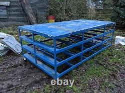 Heavy Duty Work Station Bench Table Workshop 260cm x 135cm x 90cm on wheela