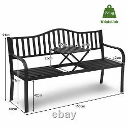 Heavy-duty Metal Patio Garden Bench Outdoor Loveseat with Foldable Middle Table