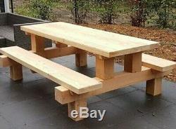 Heavy duty solid wooden picnic table garden patio bench