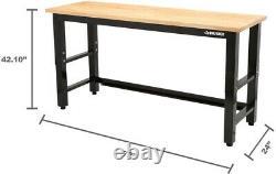 Husky Work Bench Table 6 ft Solid Wood Top Workbench Basement Garage Heavy Duty