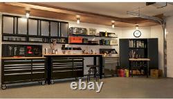 Husky Work Bench Table 8 ft Solid Wood Top Workbench Heavy Duty Basement Garage