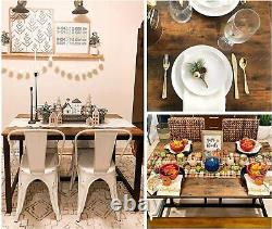 Industrial Kitchen Living Room Dining Table Rustic Brown Heavy Duty Metal Frame