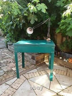 Industrial Metal Work Bench Green Vintage Heavy Duty Table