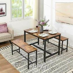 Industrial Style Dining Table Kitchen Heavy Duty Rustic Solid Wooden Metal Frame
