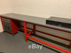 Large heavy duty industrial work bench with tool chest & granite surface table