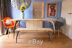 Live Waney Edge dining table and bench unique heavy duty leg design seats six