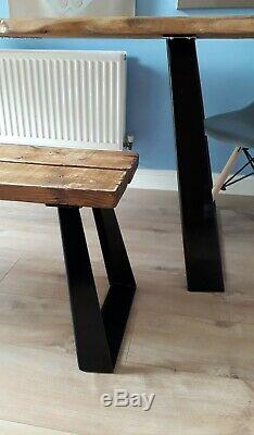 Live Waney Edge dining table and bench & unique heavy duty leg design seats six