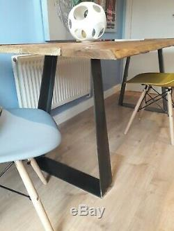 Live Waney Edge dining table with unique heavy duty leg design seats six