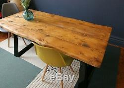 Live Waney Edge dining table with unique heavy duty leg design seats up to six