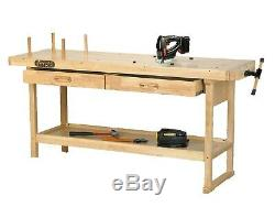 Lumberjack Work Bench 2 Drawer Heavy Duty Solid Wooden Table & Woodworking Vice