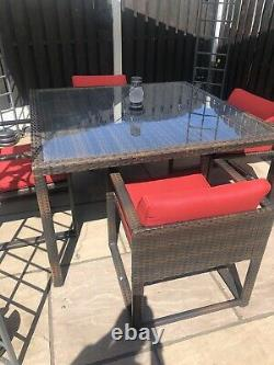 Luxury Heavy Duty Large rattan Dining Table Cube garden Set furniture