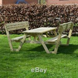 Lyddington Outdoor Pub Style Wooden Heavy Duty Picnic Bench With Back Support
