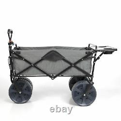 Mac Sports Collapsible All Terrain Beach Utility Wagon Cart with Table, Grey
