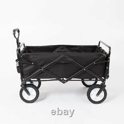 Mac Sports Collapsible Folding Outdoor Garden Utility Wagon Cart with Table, Black