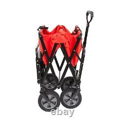 Mac Sports Collapsible Folding Outdoor Garden Utility Wagon Cart with Table, Red